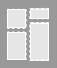 Blank different proportion postmark set on gray background. Vector illustration.
