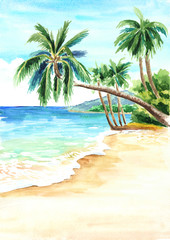 Seascape. Summer tropical beach with golden sand and palmes. Hand drawn watercolor illustration