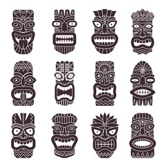 Monochrome vector illustrations set of tribal god tiki