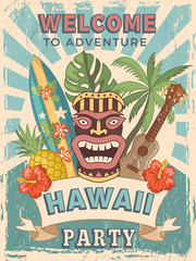 Design template of retro poster invitation for hawaiian party