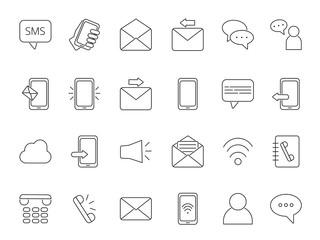 Mono line icon set of business theme. Symbols of communication