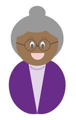 Senhora negra com óculos e roupa roxa