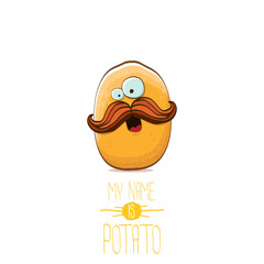 vector funny cartoon cute tiny potato character isolated on white background. My name is potato vector concept illustration.
