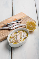 marinated anchovies with olive oil and lemon