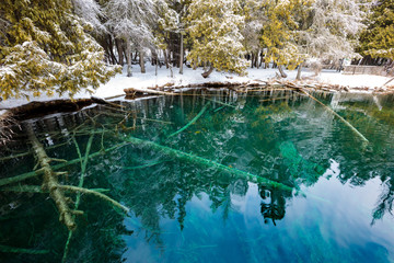 Winter at Kitch-iti-kipi Springs in the Upper Peninsula of Michigan