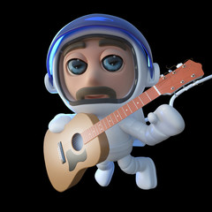 3d Funny cartoon spaceman astronaut playing an acoustic guitar in space