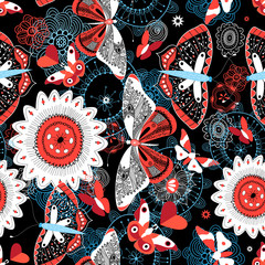 Seamless summer pattern with butterflies and flowers