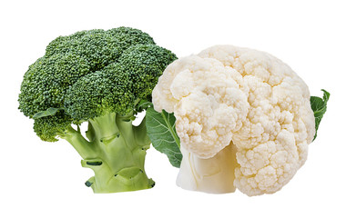 Fresh cauliflower and  broccoli isolated on white background with clipping path