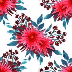 Watercolor seamless pattern with spider flowers bouquet. Pink chrysanthemums and indigo leaves