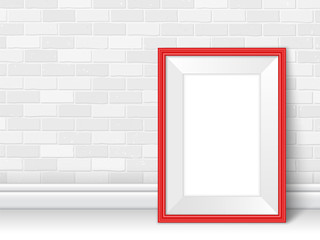 Frame template near brick wall on the floor vector red white