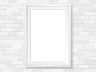 Frame white brick wall photoframe mock up vector light