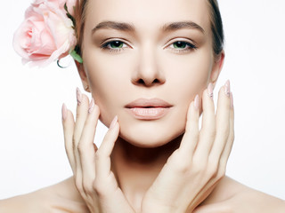 Beautiful Nude Make-up Woman with Flower