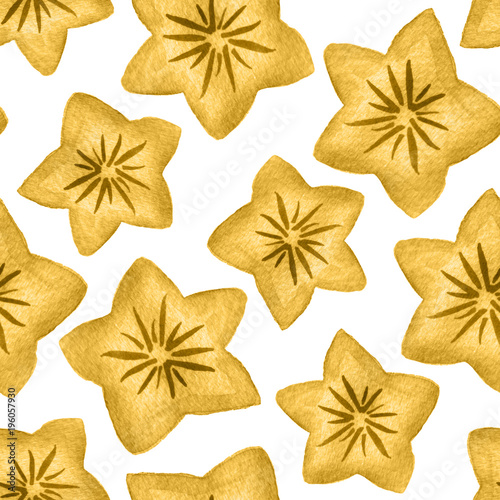 Watercolor Yellow Star Shaped Flowers Seamless Pattern Background