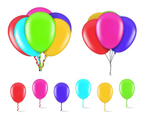 Colorful balloons isolated on white background. Vector illustration. EPS10