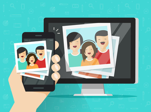 Smartphone streaming photo cards on computer vector illustration, flat cartoon mobile phone connected to pc wirelessly showing photos, photography multimedia transfer or downloading from cellphone