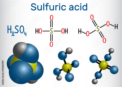 Sulfuric Acid Sulphuric H2so4 Molecule It Is Strong Mineral