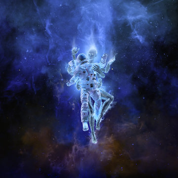 Deep space embrace / 3D illustration of astronaut encountering female technological entity