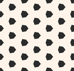 Vector geometric seamless pattern with diamond shapes, hexagons. Black and white