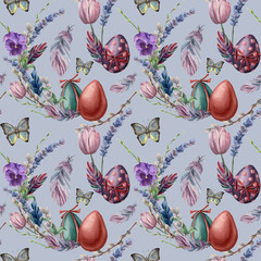 Watercolor seamless pattern with eggs and butterfly. Hand painted vibrant illustration isolated on blue background. Illustration with feather, flowers, tree branch and leaves for design or fabric.