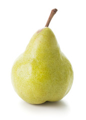single yellow pear isolated on whtie background