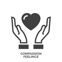 Compassion Feelings Glyph Vector Icon Isolated on the White Background.