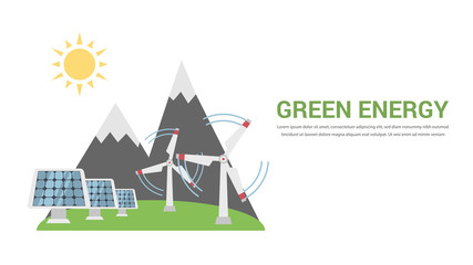 Green Energy, Renewable, Ecology, Solar, Wind Power, Think Green Flat Design Vector Concept Illustration . Isolated on the White Background.