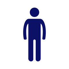 Simple dark blue vector pictogram man on white background