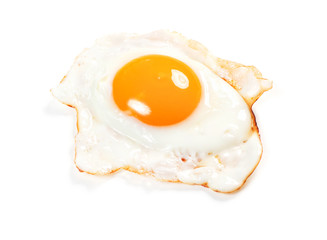 single fired sun side egg isolated on white background