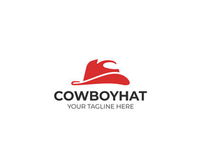 Cowboy hat logo template. Wild west clothes illustration. Texas hat logotype