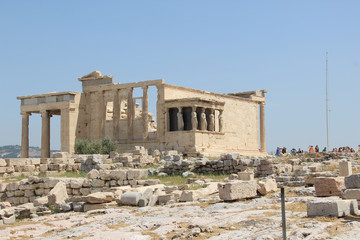 Erechtheion with panorama of Acropolis in summer in Athens, Greece