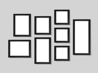 Picture frames wall photo black gallery mock up vector