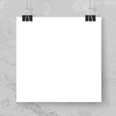 Poster binder clips square mockup grunge wall grey