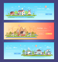 Eco city - set of modern flat design style vector illustrations