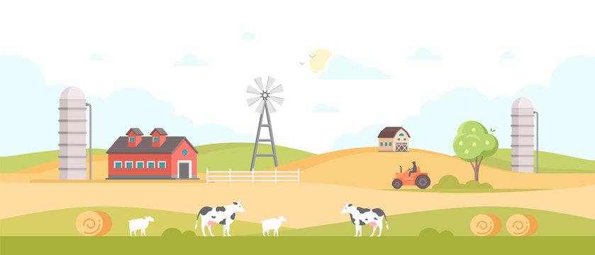 Village - modern flat design style vector illustration