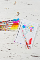 Children's picture with colour pens