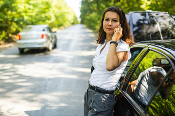 Worried woman calling for help