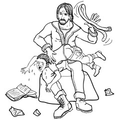 Vector illustration upset father spanking child with strap black and white