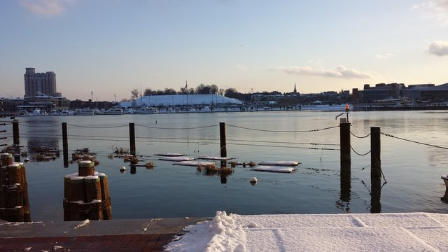 Inner Harbor of Baltimore, Maryland (United States) in the snow