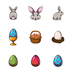 Big easter set with traditional eggs and bunny.  illustration.