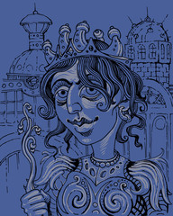The fairy-tale hero. Graphic portrait - illustration. Princess - a fantastic image.