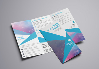 Trifold Brochure Layout with Blue Accents 3