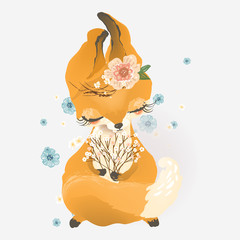 Cute fox with flowers, floral bouquet, wreath
