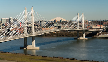 People Move Across Portland Bridge Willamette River Mount St Helens