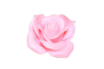 Rose flower made of soap isolated on white background