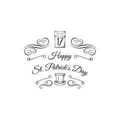 St. Patrick s Day greeting card. Calendar and leprechaun s hat. Vector illustration.