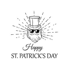 Illustration of Leprechaun in hat and sunglasses in beams. Patrick s day. Vector file.