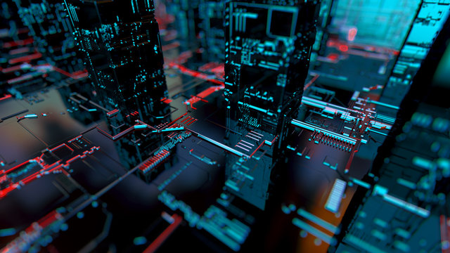 Abstract 3d circuit city concept of connection. Digital skyscrappers.