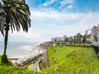 View of la Costa Verde coast in Lima