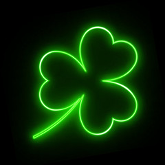 Neon green leaf clover on a black background for design on St. Patrick's day. Glittering vector illustration with the symbol of the Irish holiday