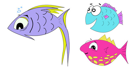 Set of cartoon fish illustration on a white background
